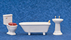 Dollhouse Miniature Bathroom Set, 3 pc.