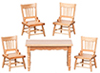 Dollhouse Miniature Oak Kitchen Table and  Chairs Set, 5 pc