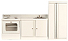 Dollhouse Miniature Modern Kitchen Set, 3 Pc, White