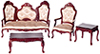 Dollhouse Miniature Rococo Living Room Set,  4 pc
