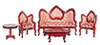 Dollhouse Miniature Victorian Living Room Set, 5Pc, Red, Mahogany