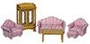 Dollhouse Miniature1/2 In Living Room Set, 6Pc