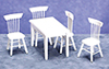Dollhouse Miniature5 pc Table and Chair Set, White