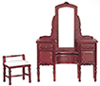 Dollhouse Miniature Vanity Set, 2 pc,  Mahogany