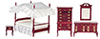 Dollhouse Miniature Canopy Bedroom Set, 5 Pc, Mahogany