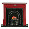 Dollhouse Miniature Fireplace with Insert, Mahogany