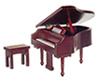 Dollhouse Miniature Grand Piano, Mahogany