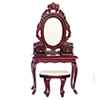 Dollhouse Miniature Vanity with Stool, Mahogany