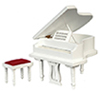 Dollhouse Miniature Grand Piano, White