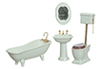 Dollhouse Miniature Bath Set, 4Pc, White