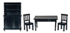 Dollhouse Miniature Benson Dining Room Set, Black, 4pc