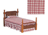 Dollhouse Miniature Single Bed, Burgundy/Walnut, CB