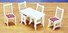 Dollhouse Miniature Kitchen Table and Chairs, White