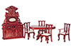 Dollhouse Miniature Dining Room Set, Mahogany, 6 pc.