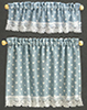 Dollhouse Miniature Cottage Curtains: Nursery Hearts, Blue