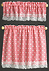 Dollhouse Miniature Cottage Curtains: Nursery Hearts, Pink
