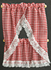 Dollhouse Miniature Kitchen Curtain: Gingham Red