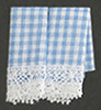 Dollhouse Miniature Kitchen Dish Towels: Gingham Blue