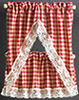 Dollhouse Miniature Kitchen Curtains: Country Red Check