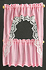 Dollhouse Miniature Curtains: Ruffled Cape Set, Pink