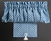 Dollhouse Miniature Curtains: Balloon with Shade, Blue Dot