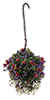 Dollhouse Miniature Hanging Basket: Red-Purple-White, Large