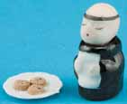 Dollhouse Miniature Monk Cookie Jar With Chocolate Chip Cookies
