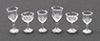 Dollhouse Miniature Stemware, Clear Cut, 6/Pc