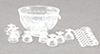 Dollhouse Miniature 8 Piece Punch Bowl Set, Crystal