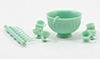 Dollhouse Miniature Punch bowl Set, Jadeite