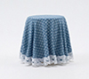 Dollhouse Miniature Skirted Table-Blue Mini Dot