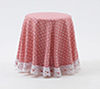 Dollhouse Miniature Skirted Table-Pink Mini Dot