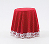 Dollhouse Miniature Skirted Table-Red Mini Dot