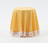Dollhouse Miniature Skirted Table-Yellow Mini Dot