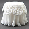 Dollhouse Miniature Lace Top Skirted Table, White