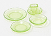 Dollhouse Miniature Depression Dish Set, 5Pc, Green
