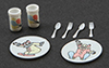 Dollhouse Miniature Circus Dish Set, Pastel