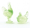Dollhouse Miniature Rooster/Hen Candy Dishes, Green