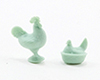 Dollhouse Miniature Rooster & Hen Figurines, Jadeite