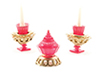 Dollhouse Miniature Candlesticks W/Candy Dish Set, 3Pc