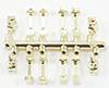 Dollhouse Miniature Window Hardware Gold 8 Handles/4 Locks