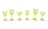 Dollhouse Miniature Cut Stemware, Green, 6/Pc