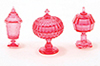 Dollhouse Miniature Candy Dishes, 3Pc, Cranberry