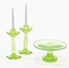 Dollhouse Miniature Cake Plate W/2 Candlesticks, Green