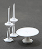 Dollhouse Miniature Cake Plate W/2 Candlesticks, White