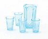 Dollhouse Miniature Pitcher W/4 Glasses, Blue