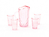 Dollhouse Miniature Pitcher W/4 Glasses, Pink