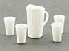 Dollhouse Miniature Pitcher W/4 Glasses, White