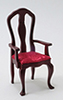 Dollhouse Miniature Queen Anne Armchair, Mahogany
