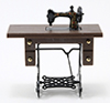 Dollhouse Miniature Sewing Machine on Walnut Stand, Resin and Metal